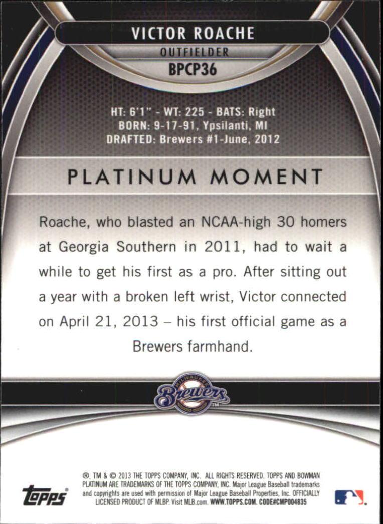 2013 Bowman Platinum Chrome Prospects Purple Refractors #BPCP36 Victor Roache back image