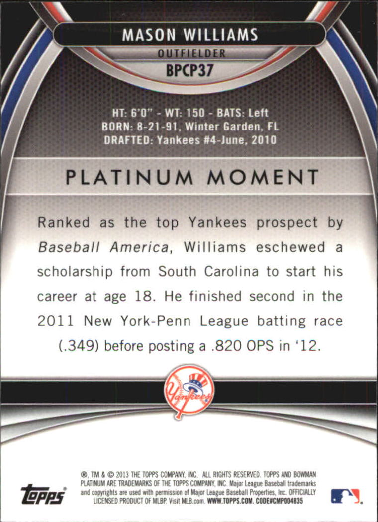 2013 Bowman Platinum Chrome Prospects Purple Refractors #BPCP37 Mason Williams back image