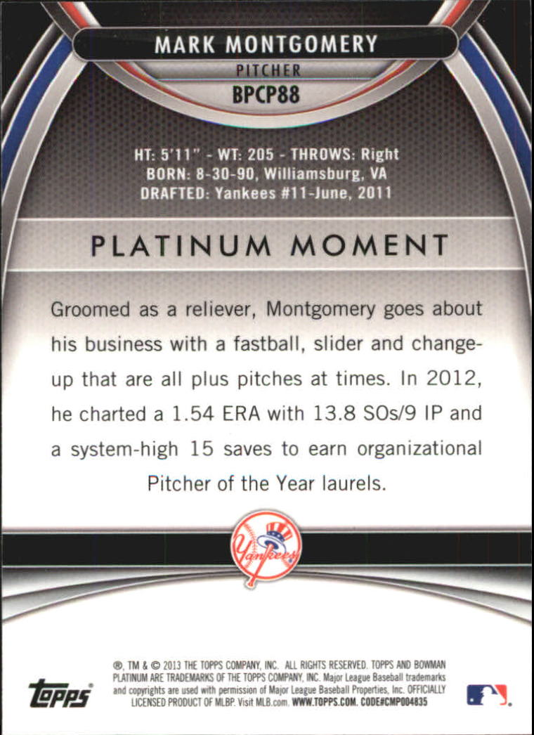 2013 Bowman Platinum Chrome Prospects Purple Refractors #BPCP88 Mark Montgomery back image