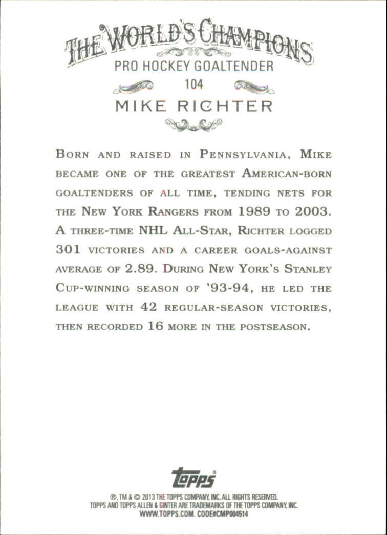 2013 Topps Allen and Ginter #104 Mike Richter back image