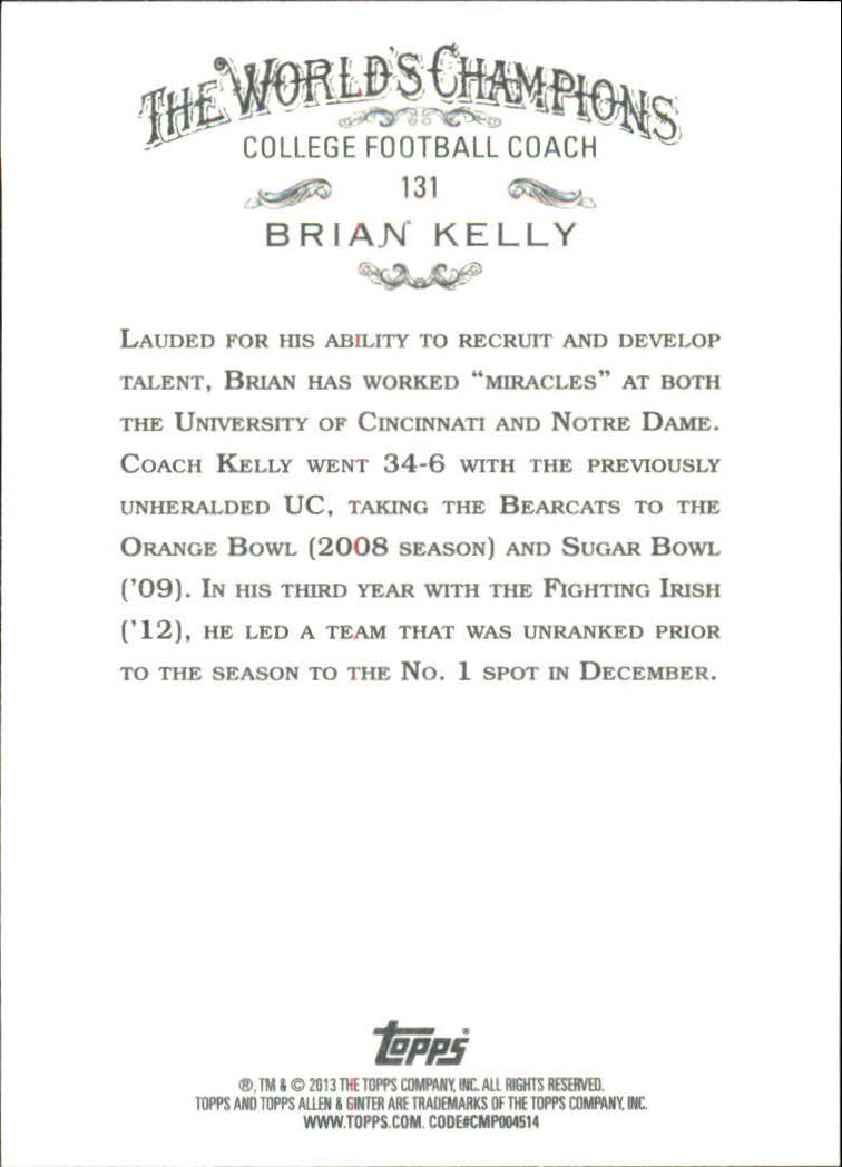 2013 Topps Allen and Ginter #131 Brian Kelly back image