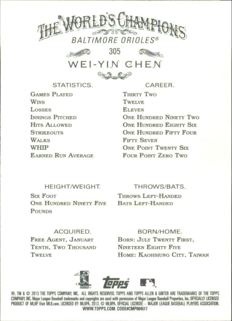 2013 Topps Allen and Ginter #305 Wei-Yin Chen SP back image
