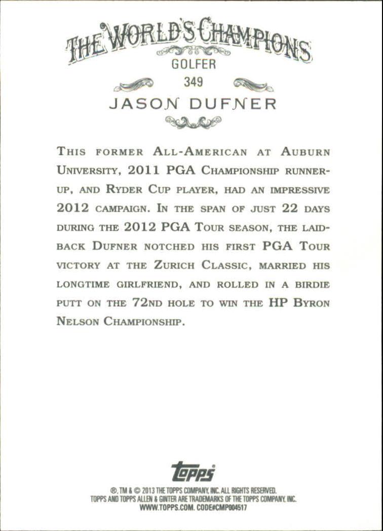 2013 Topps Allen and Ginter #349 Jason Dufner SP back image