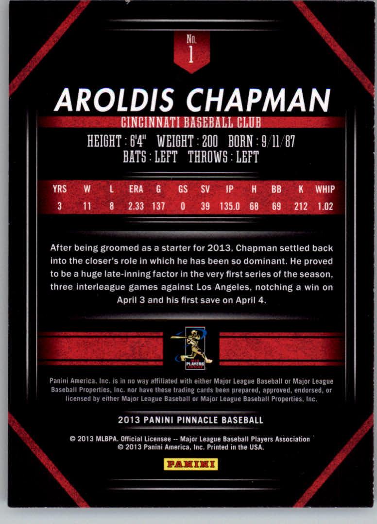2013 Pinnacle #1 Aroldis Chapman back image