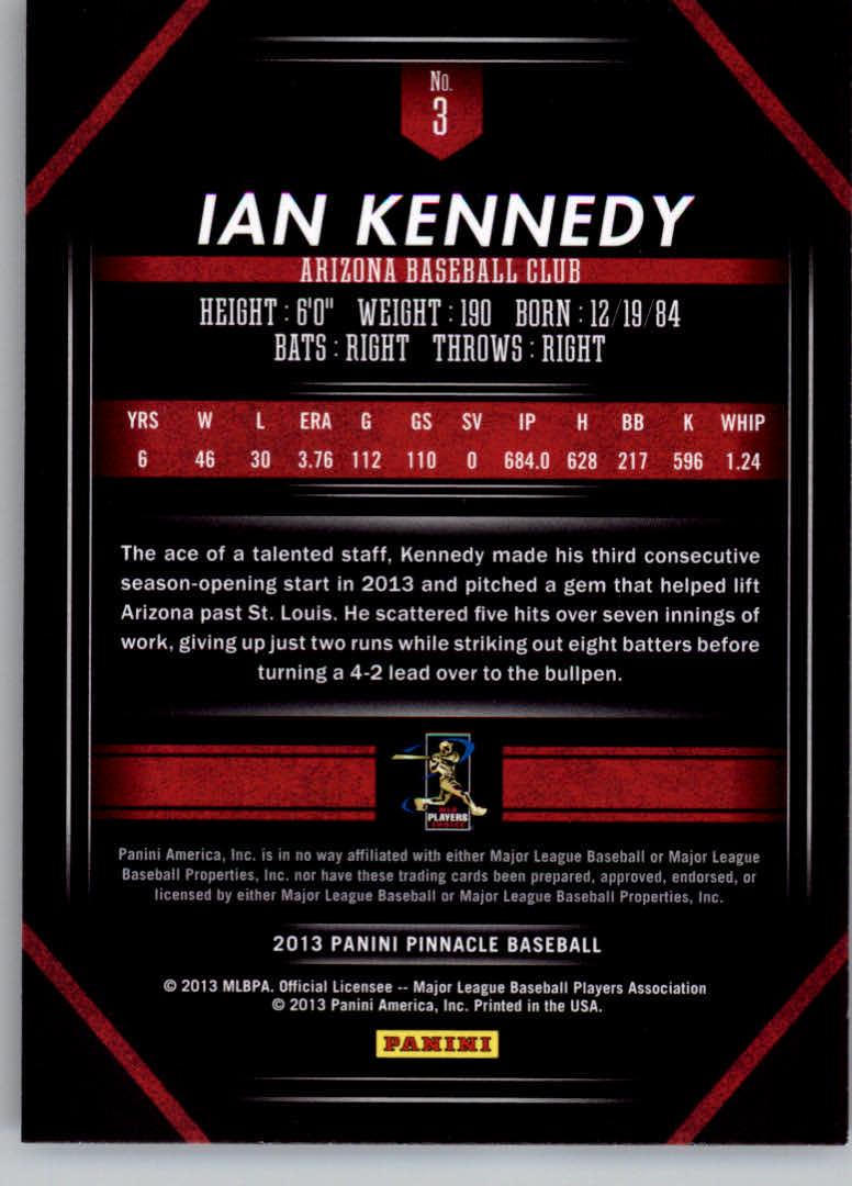 2013 Pinnacle #3 Ian Kennedy back image