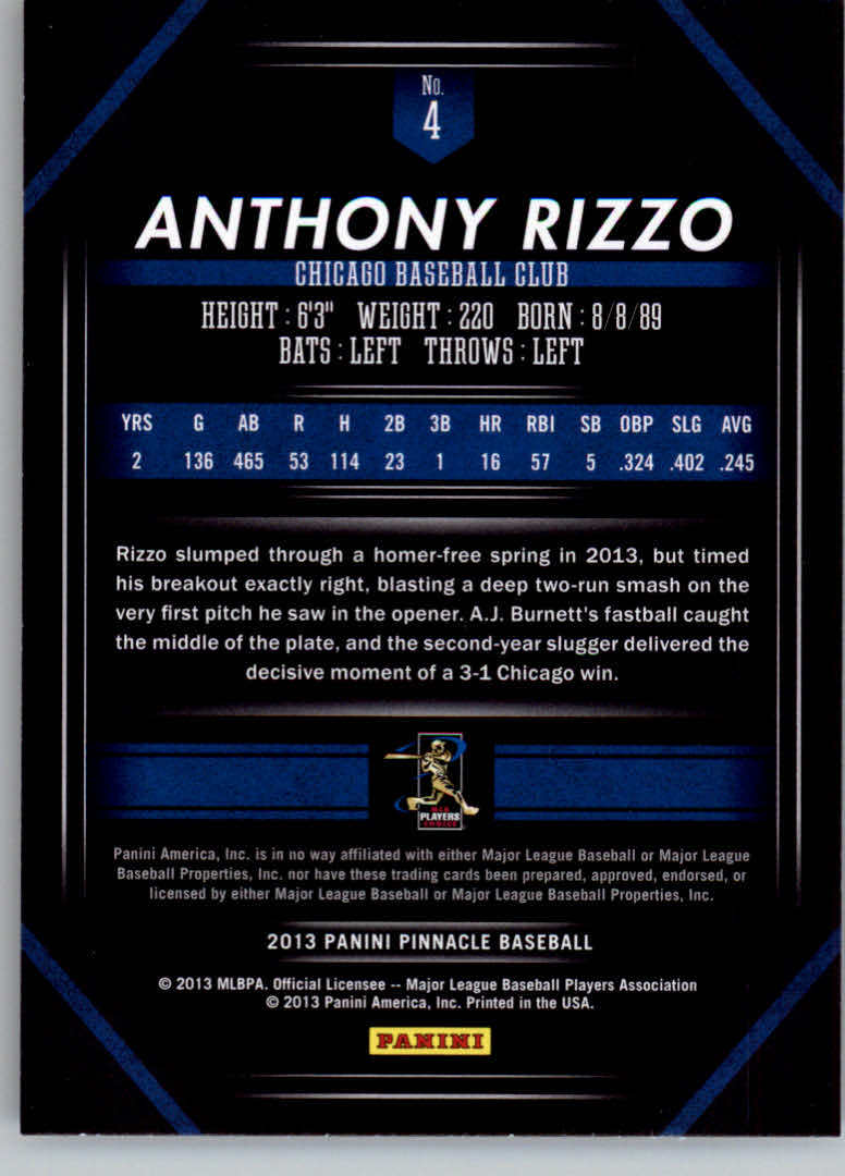 2013 Pinnacle #4 Anthony Rizzo back image