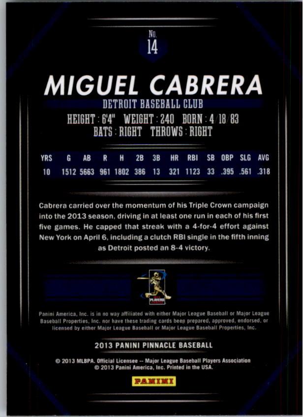 2013 Pinnacle #14 Miguel Cabrera back image