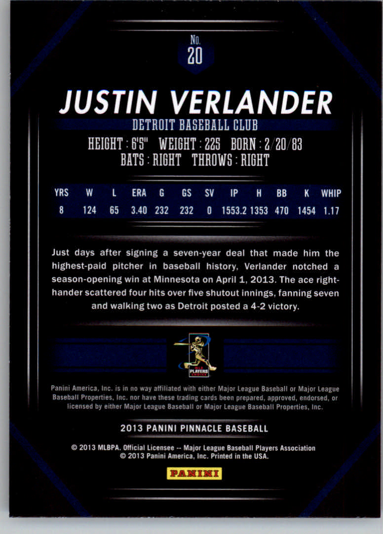 2013 Pinnacle #20 Justin Verlander back image