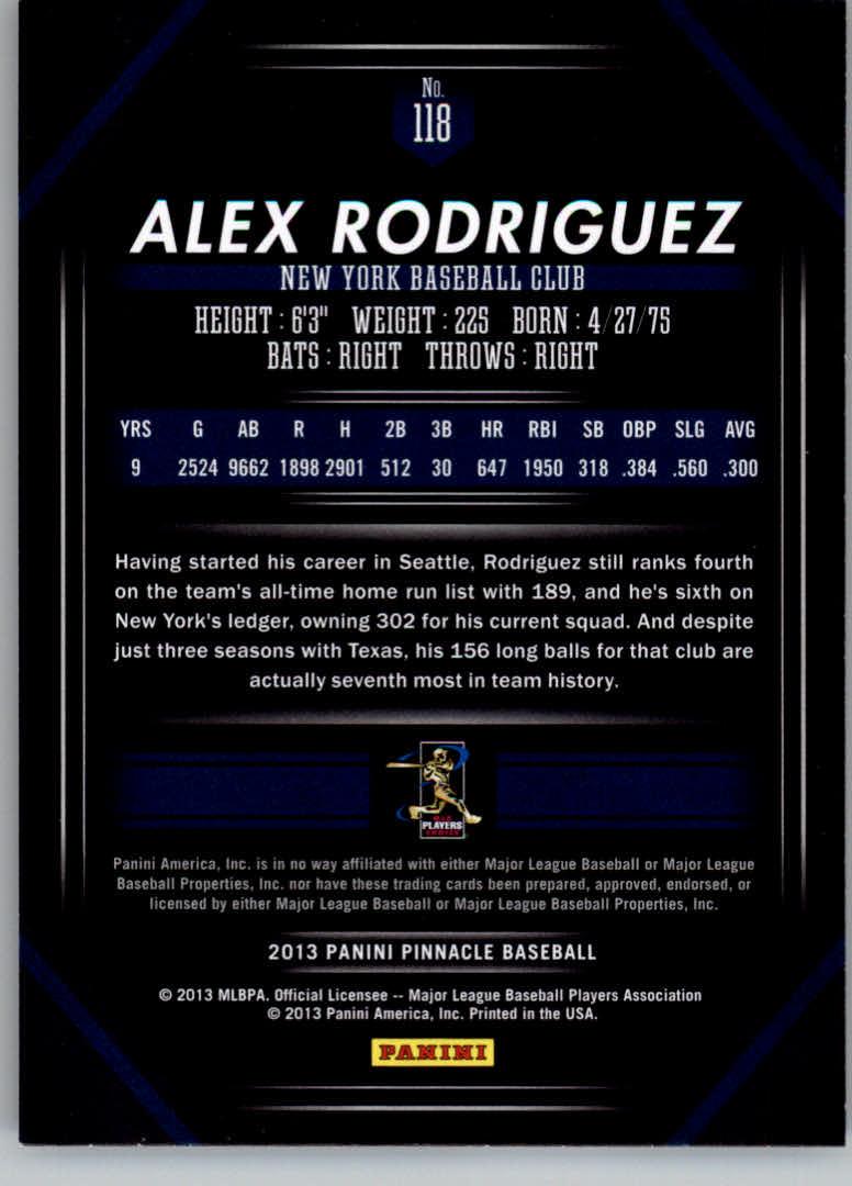 2013 Pinnacle #118 Alex Rodriguez back image
