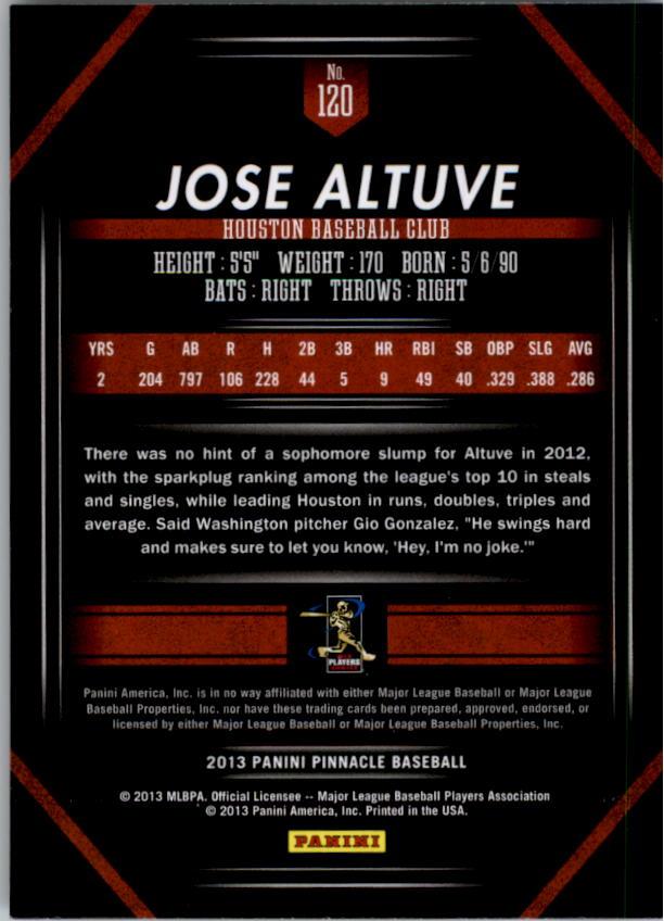 2013 Pinnacle #120 Jose Altuve back image