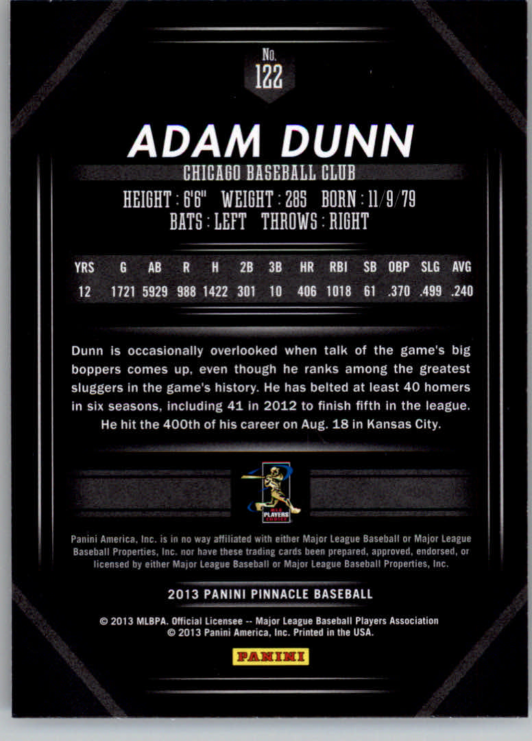 2013 Pinnacle #122 Adam Dunn back image