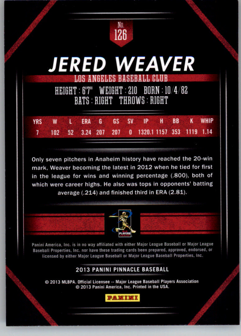 2013 Pinnacle #126 Jered Weaver back image
