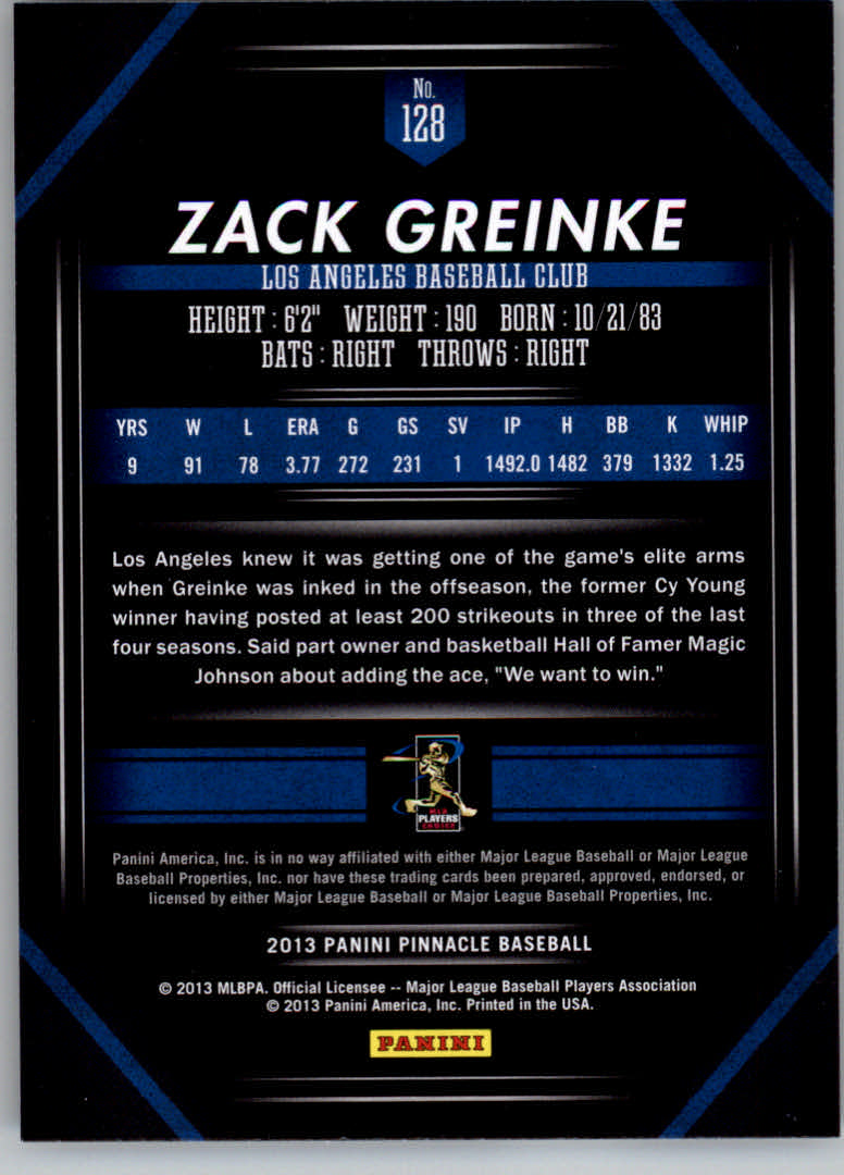 2013 Pinnacle #128 Zack Greinke back image