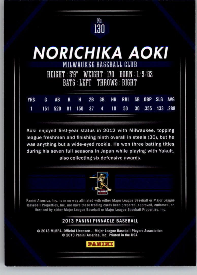 2013 Pinnacle #130 Norichika Aoki back image