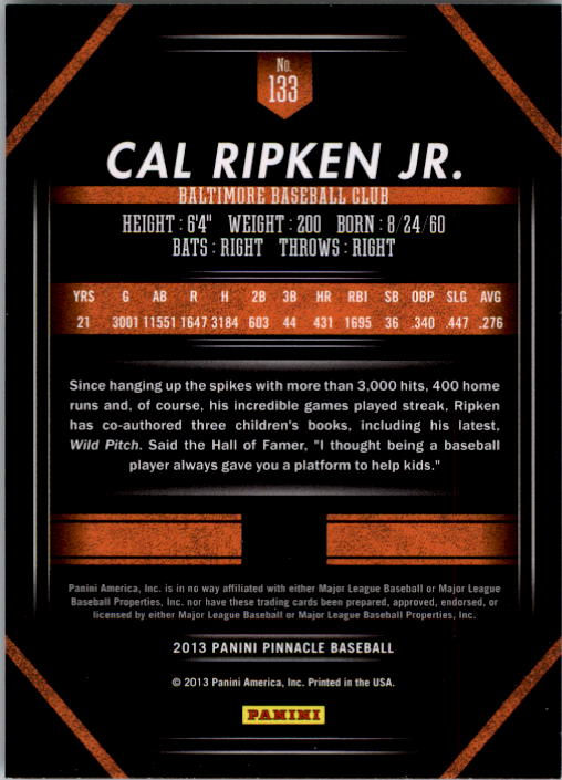 2013 Pinnacle #133 Cal Ripken Jr. back image