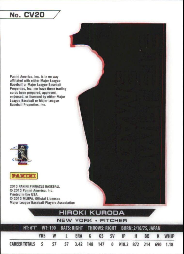 2013 Pinnacle Clear Vision Pitching Complete Game #20 Hiroki Kuroda back image