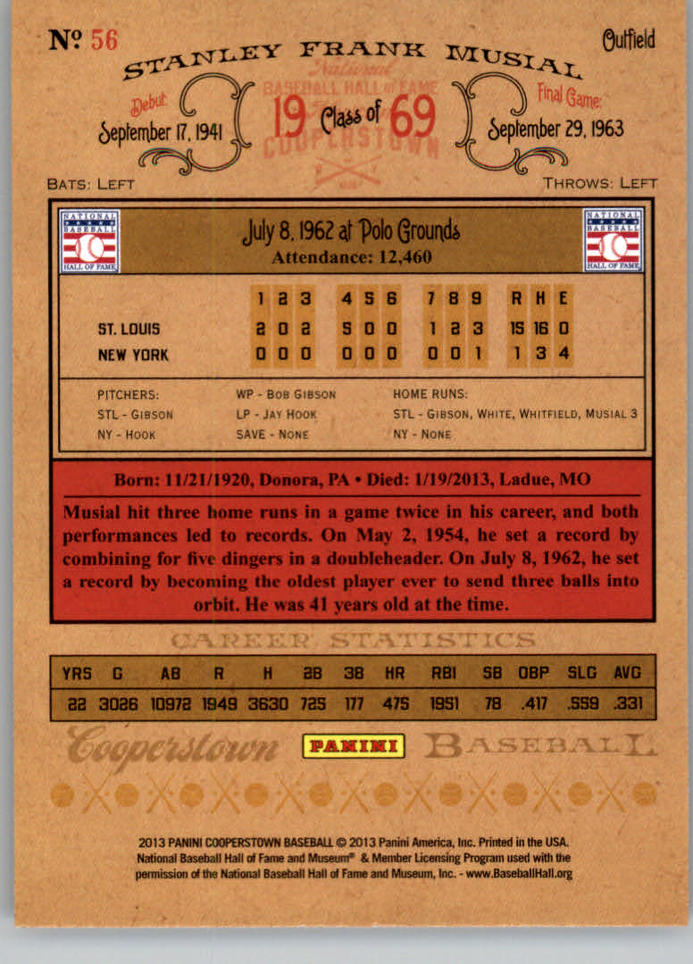2013 Panini Cooperstown #56 Stan Musial back image