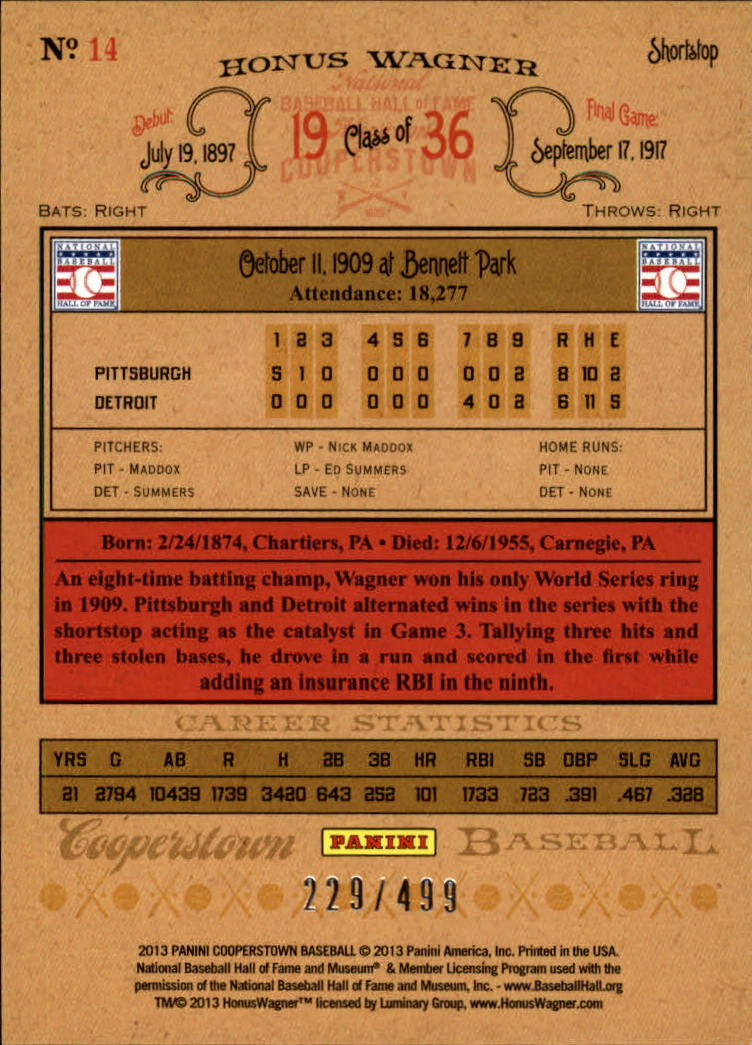 2013 Panini Cooperstown Blue Crystal #14 Honus Wagner back image