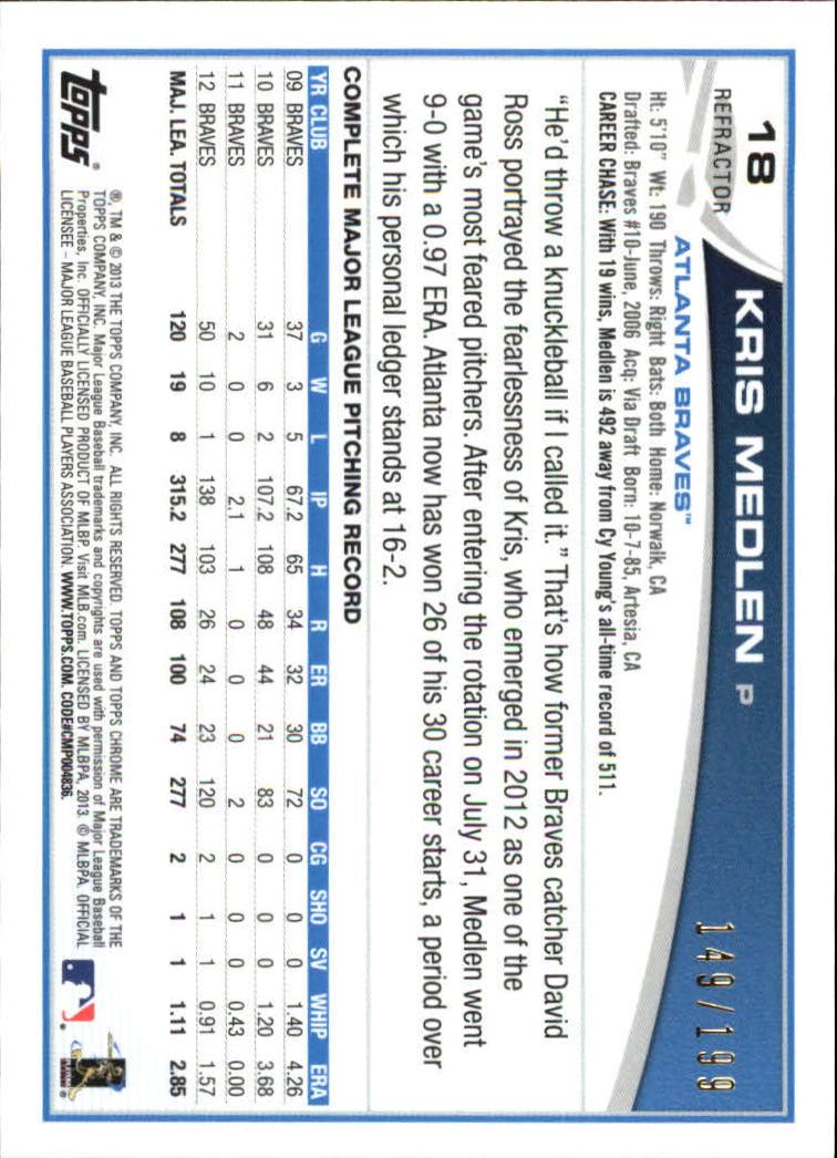 2013 Topps Chrome Blue Refractors #18 Kris Medlen back image