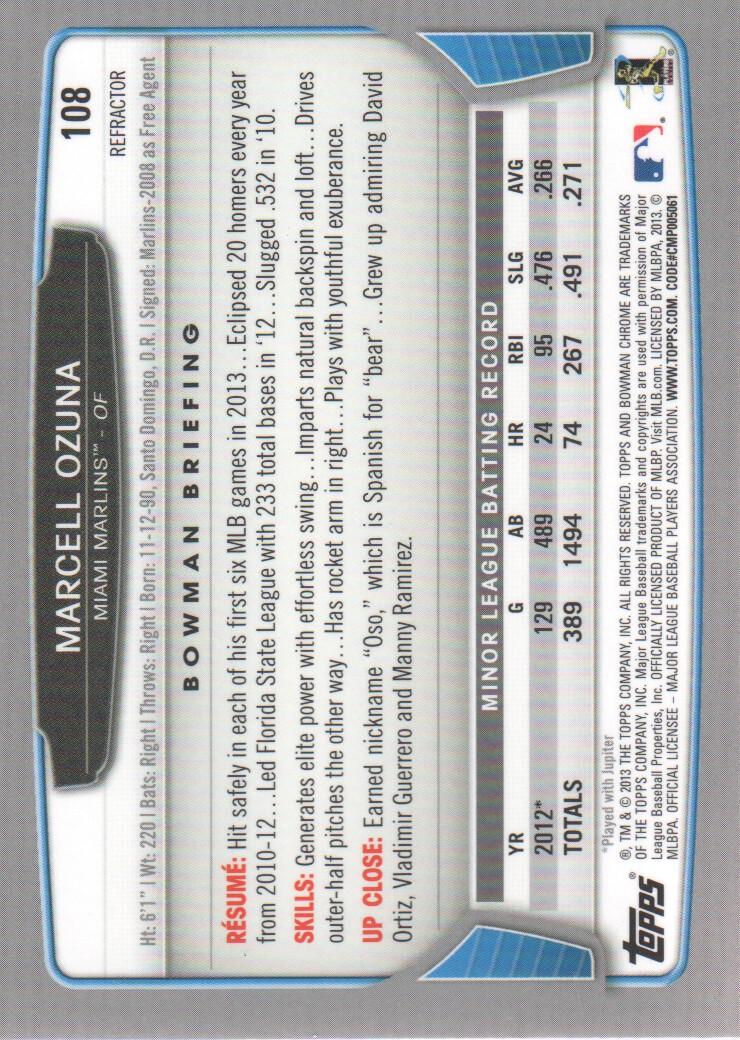 2013 Bowman Chrome Refractors #108 Marcell Ozuna back image