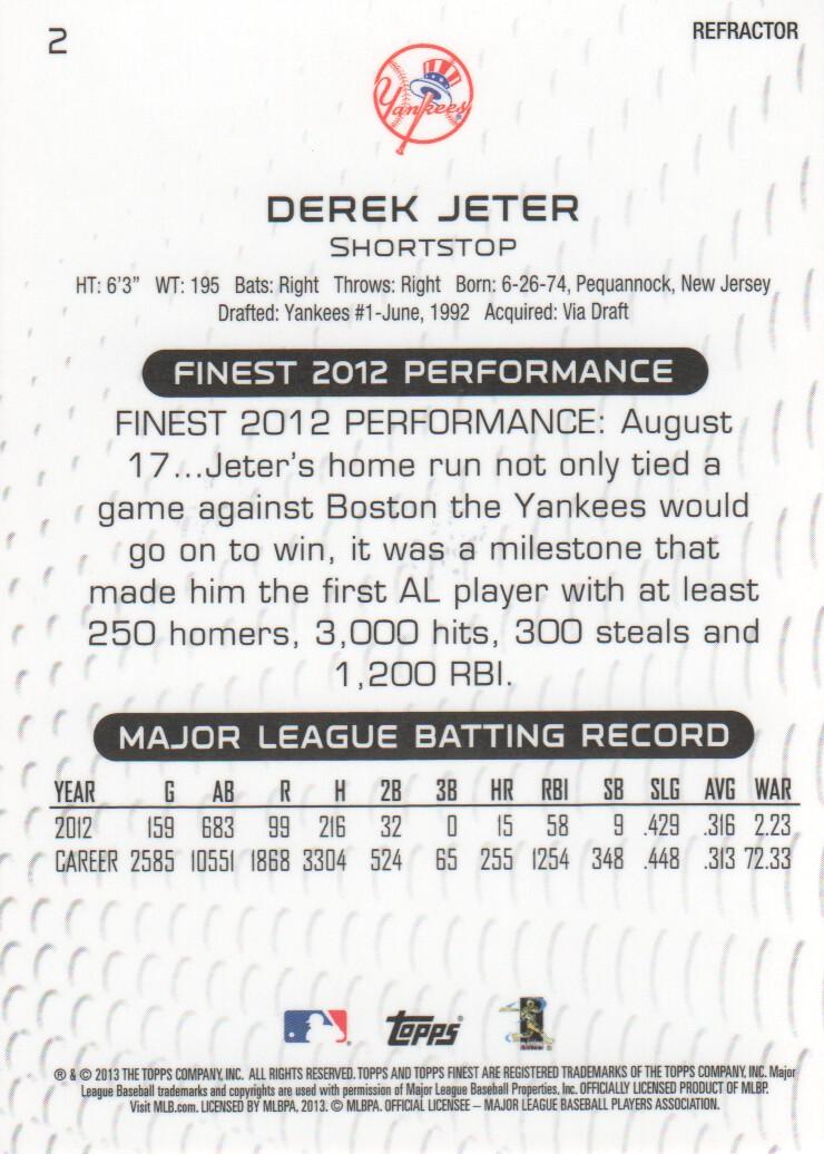 2013 Finest Refractors #2 Derek Jeter back image