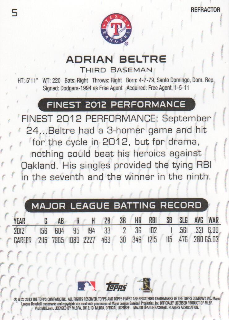 2013 Finest Refractors #5 Adrian Beltre back image