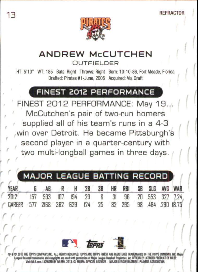 2013 Finest Refractors #13 Andrew McCutchen back image