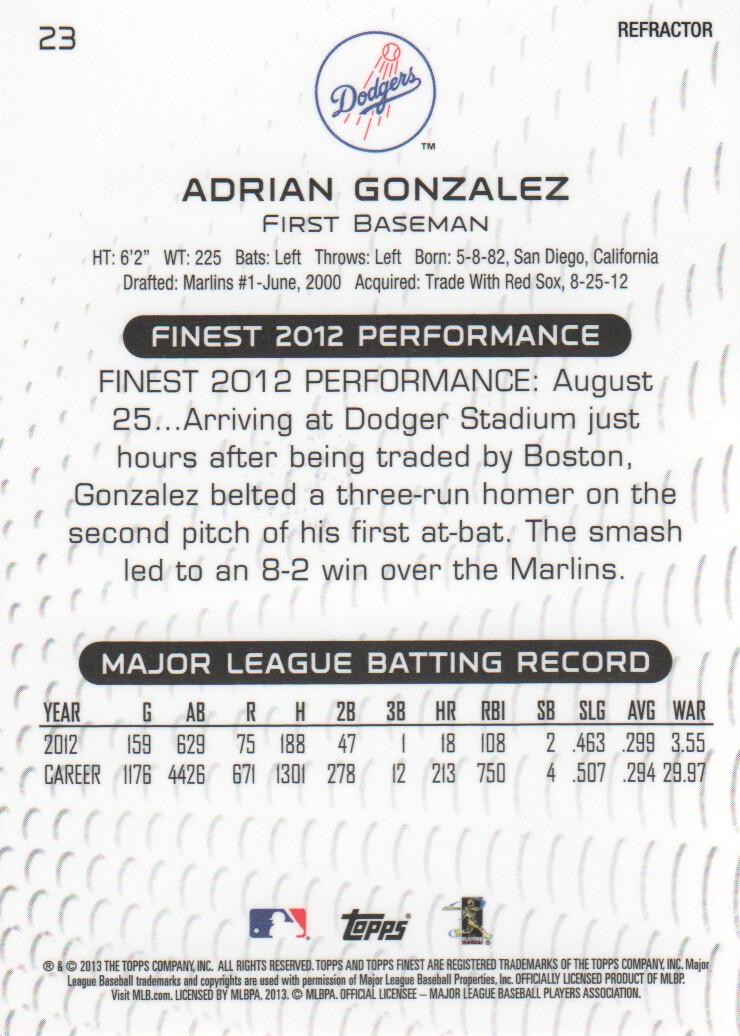 2013 Finest Refractors #23 Adrian Gonzalez back image