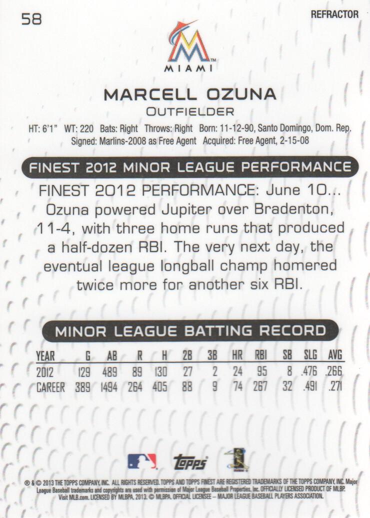 2013 Finest Refractors #58 Marcell Ozuna back image