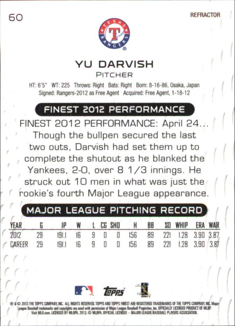 2013 Finest Refractors #60 Yu Darvish back image