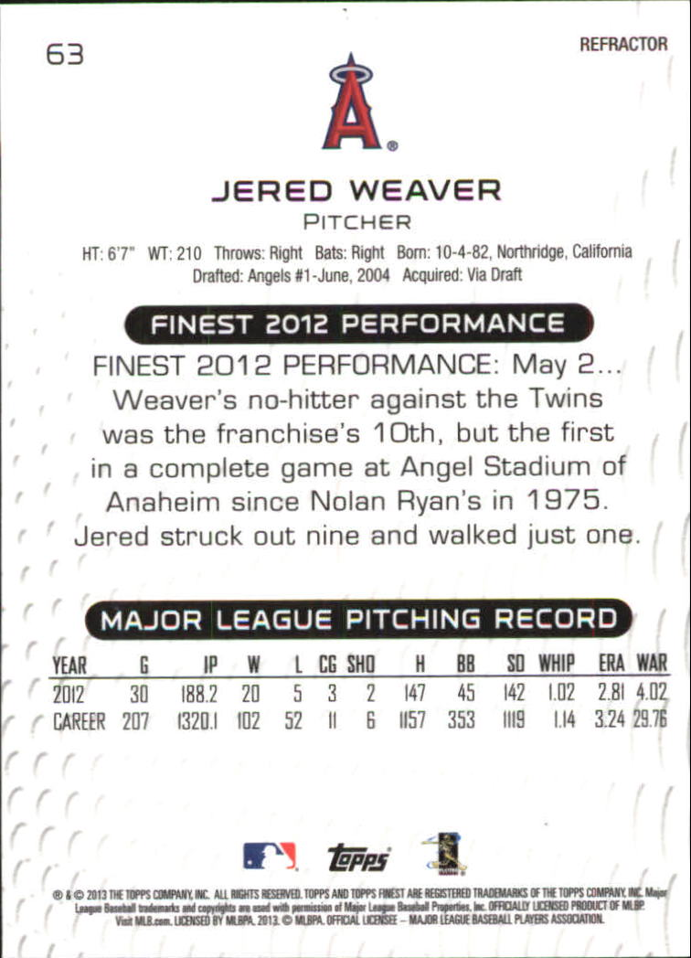 2013 Finest Refractors #63 Jered Weaver back image