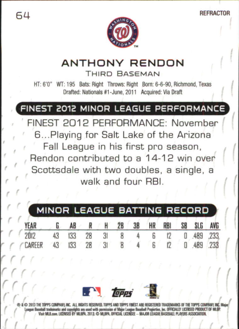 2013 Finest Refractors #64 Anthony Rendon back image