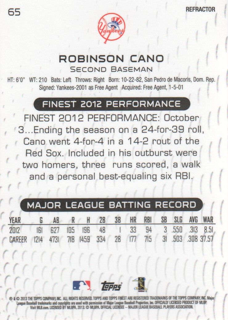 2013 Finest Refractors #65 Robinson Cano back image