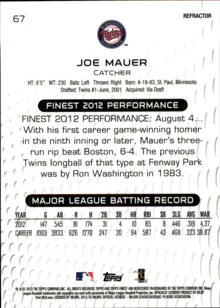 2013 Finest Refractors #67 Joe Mauer back image