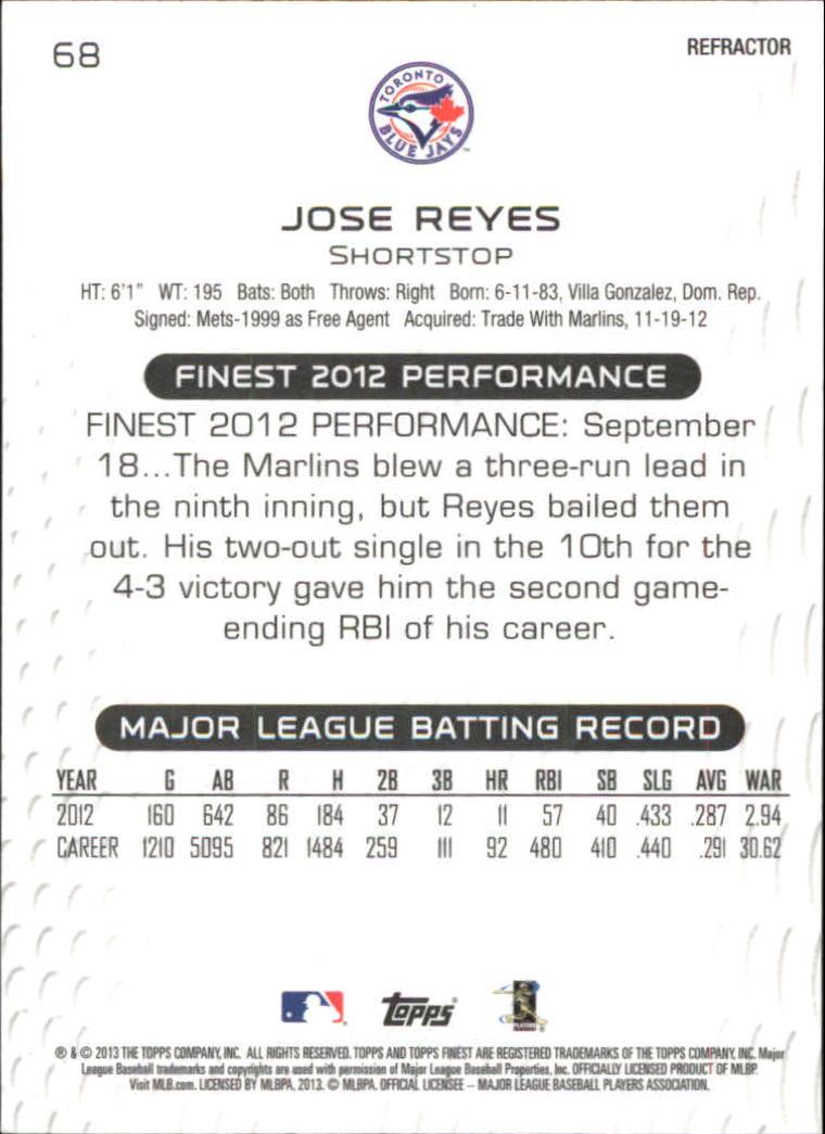 2013 Finest Refractors #68 Jose Reyes back image