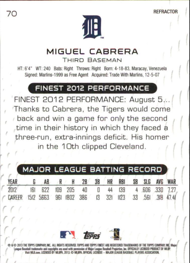 2013 Finest Refractors #70 Miguel Cabrera back image