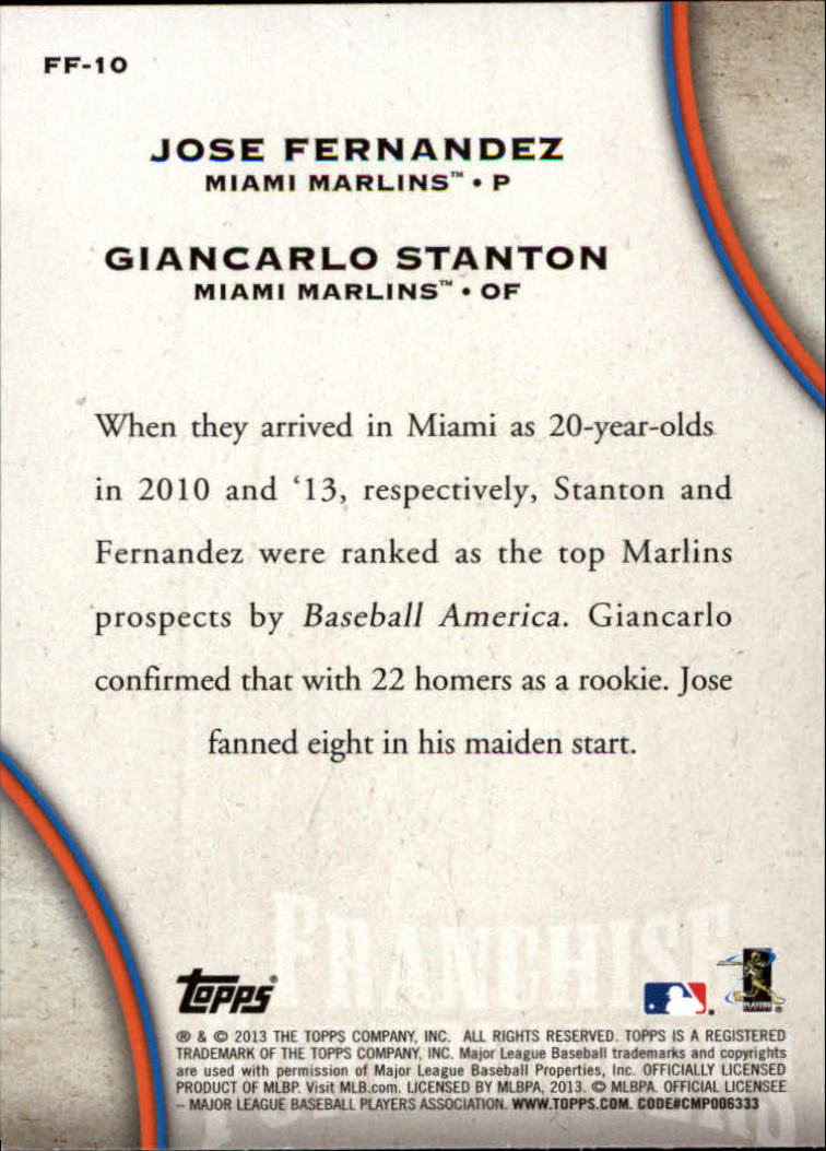2013 Topps Update Franchise Forerunners #10 Jose Fernandez/Giancarlo Stanton back image