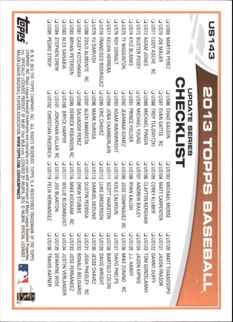 2013 Topps Update Wal-Mart Blue Border #US143 Tim Lincecum back image