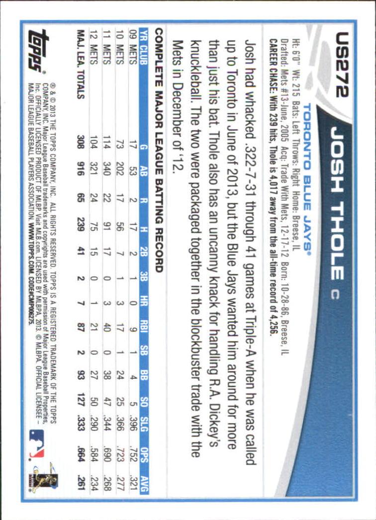 2013 Topps Update Wal-Mart Blue Border #US272 Josh Thole back image