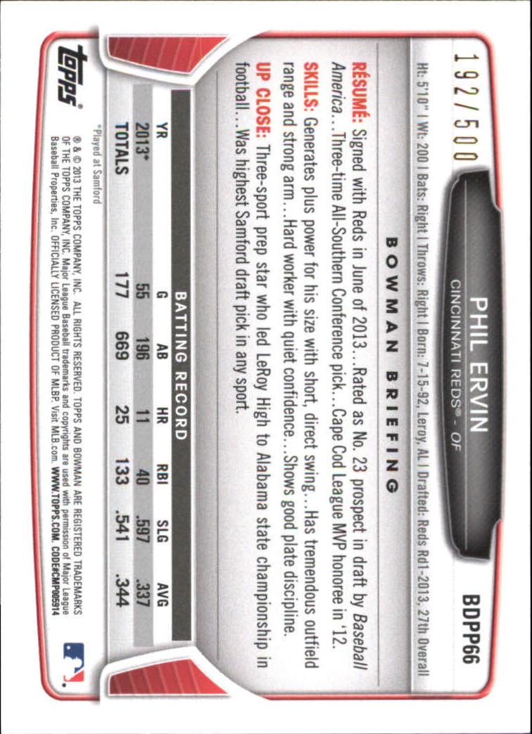 2013 Bowman Draft Draft Picks Blue #BDPP66 Phil Ervin back image