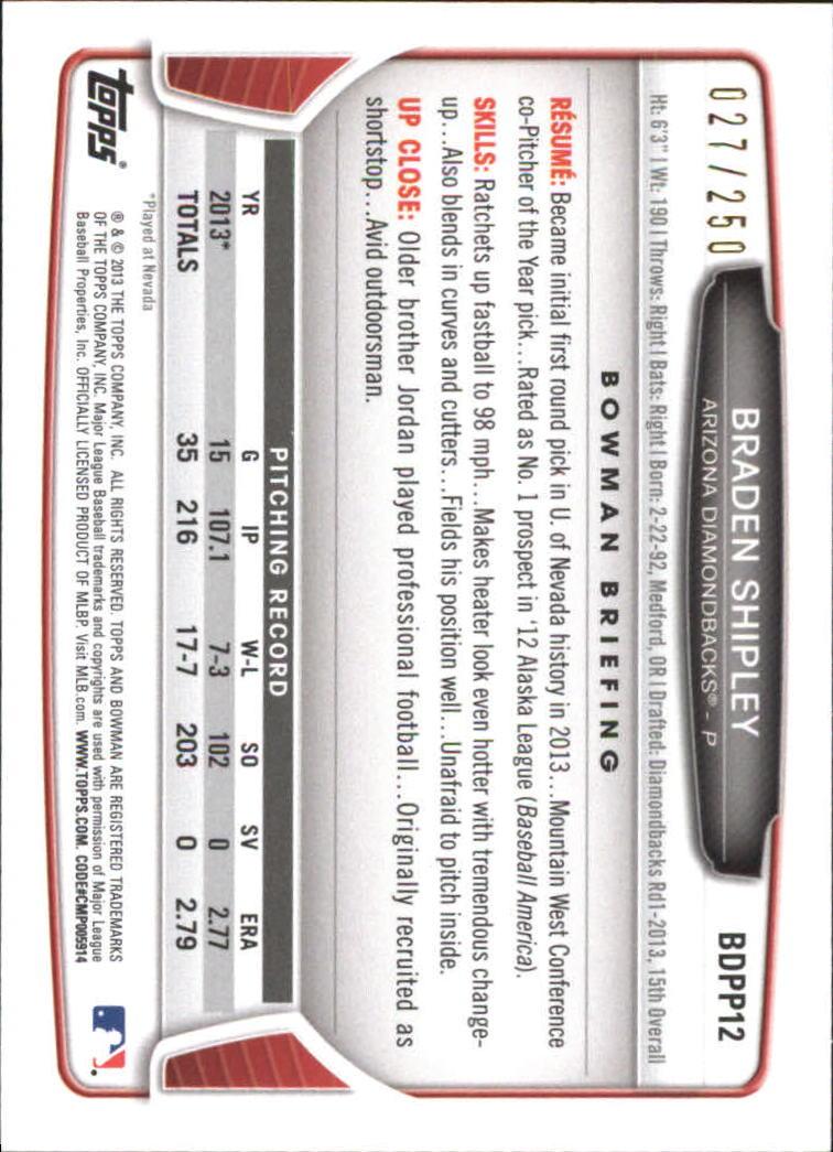 2013 Bowman Draft Draft Picks Orange #BDPP12 Braden Shipley back image