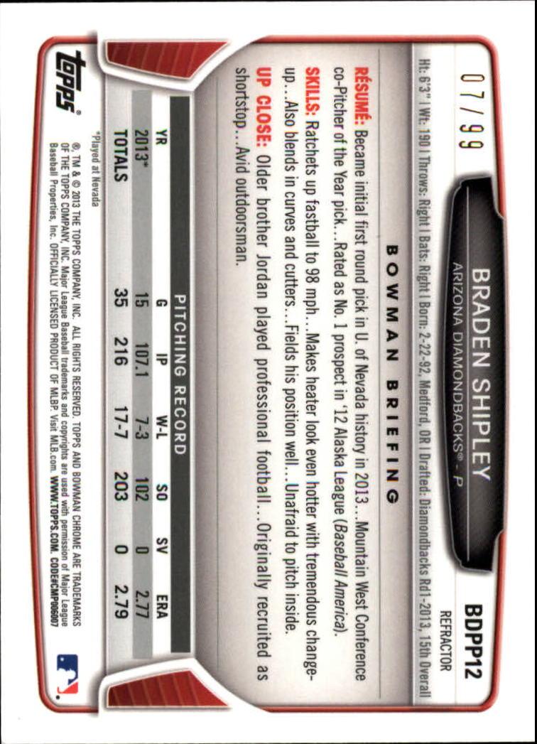 2013 Bowman Chrome Draft Draft Picks Blue Refractors #BDPP12 Braden Shipley back image