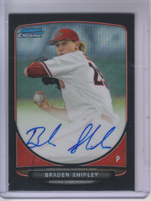 2013 Bowman Chrome Draft Draft Pick Autographs Black Wave Refractors #BS Braden Shipley