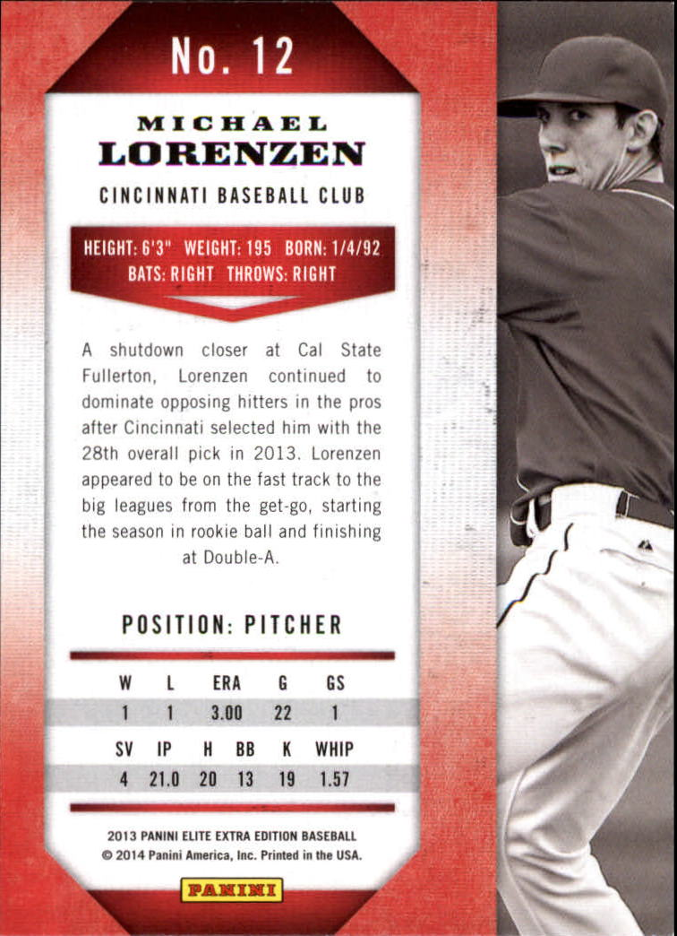 2013 Elite Extra Edition #12 Michael Lorenzen back image