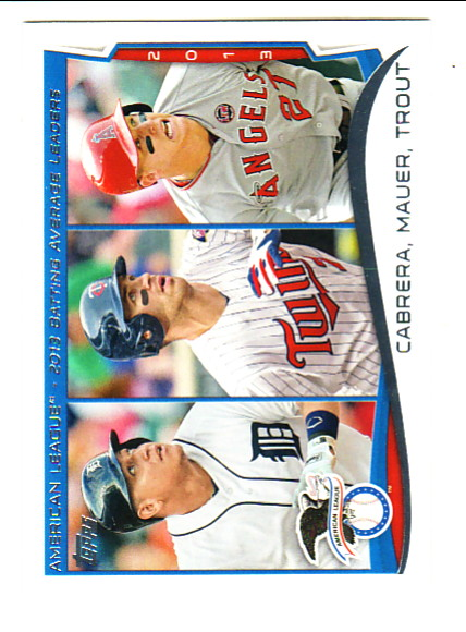 2014 Topps #103 Miguel Cabrera/Joe Mauer/Mike Trout LL