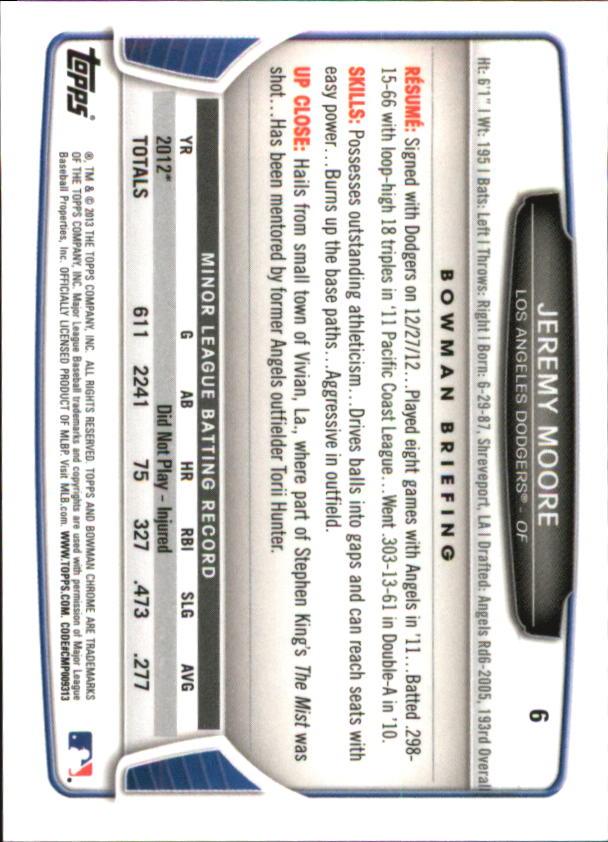 2013 Bowman Chrome Mini #6 Jeremy Moore back image