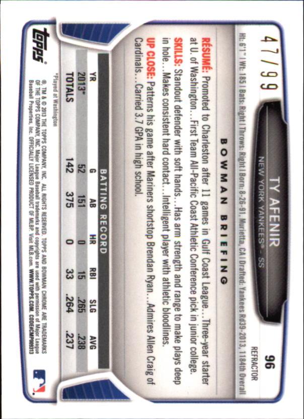 2013 Bowman Chrome Mini Blue Refractors #96 Ty Afenir back image