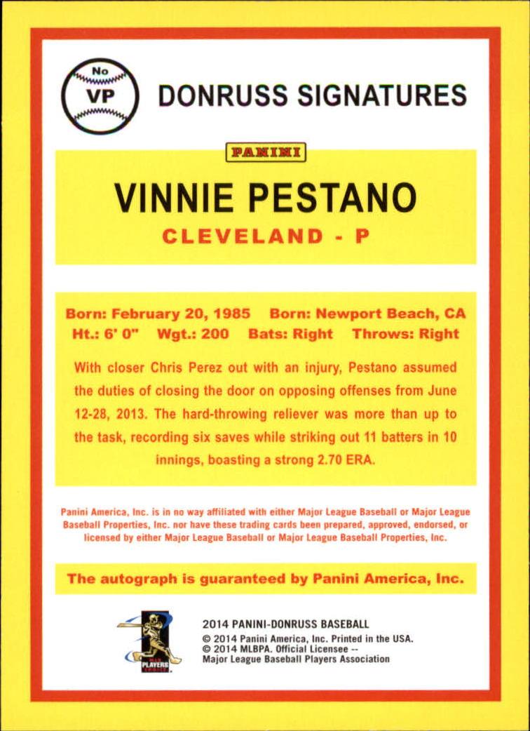 2014 Donruss Signatures #45 Vinnie Pestano back image
