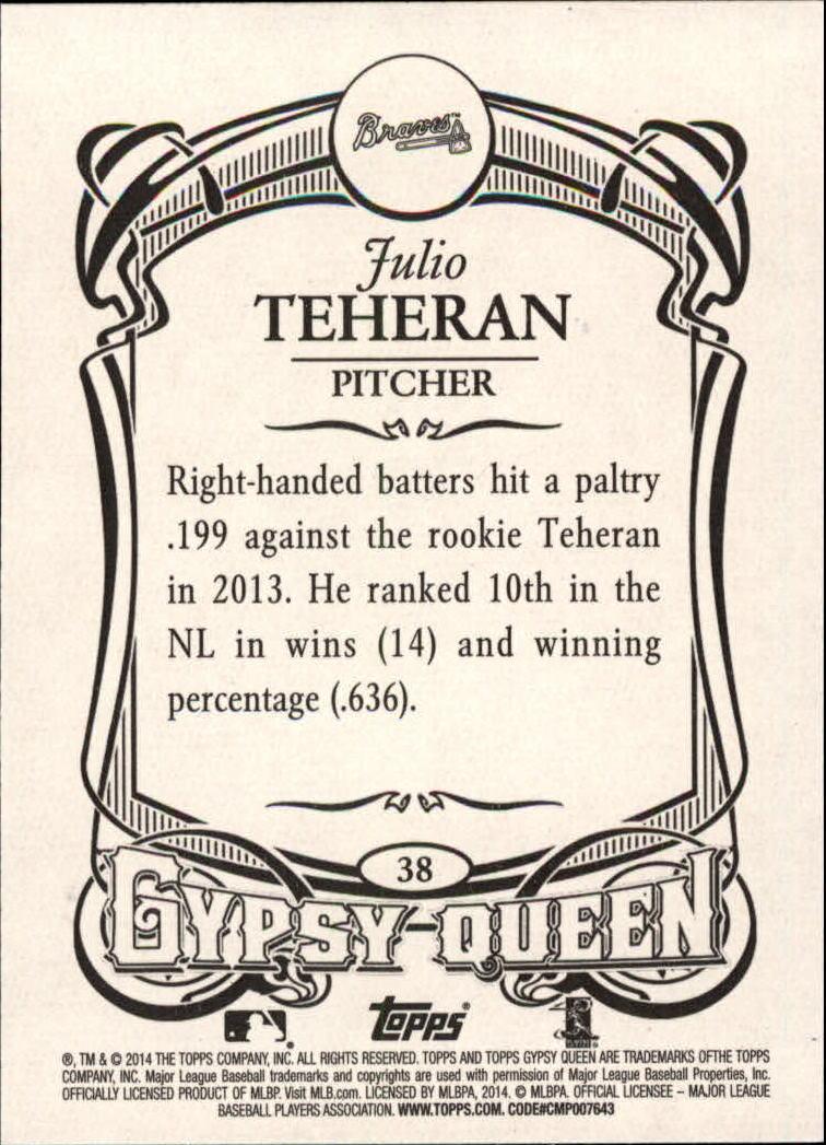 2014 Topps Gypsy Queen #38 Julio Teheran back image