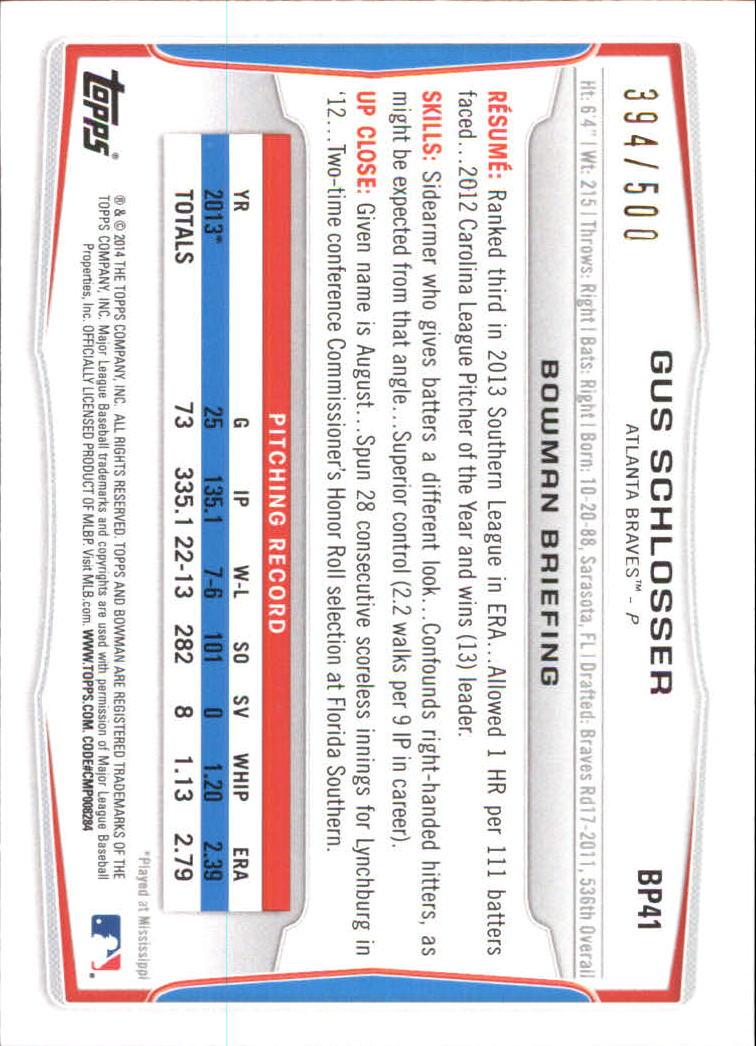 2014 Bowman Prospects Blue #BP41 Gus Schlosser back image